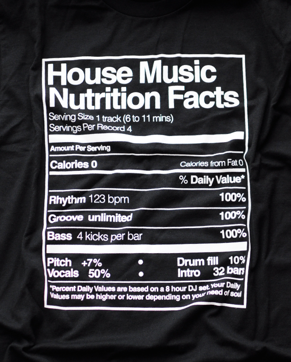 Playera house music nutrition facts n black room for House music facts