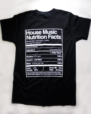 T shirt - House Music Nutrition Facts - Negro